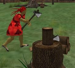 Iyoba chops wood